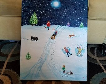 """Playing in the Snow, 20""""x 16"""" acrylic on canvas, black painted edges wired and ready to hang"""