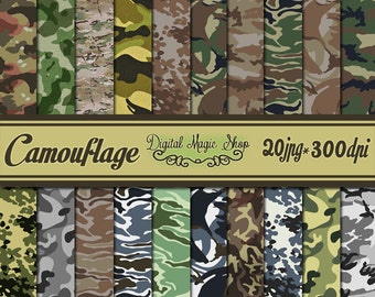 Army Military Camouflage Digital Papers - 20 pcs 300dpi (paper crafts,card making,scrapbooking)