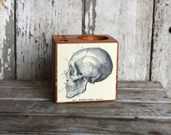 Anatomical Desk Caddy Small: Desk Organizer, Office Desk Accessories, Pencil Holder, Tool Caddy, Wood Men Gift, Dorm Decor, Peg and Awl