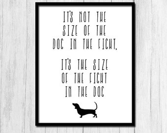 """Inspirational Dog Quote """"Size of Fight in Dog"""" Mark Twain Quotes Dog Quotes Dog Quote Art Digital Download Print Inspirational Quote Print"""