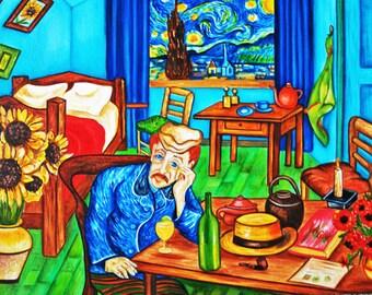 Art Print, Interior, Bedroom, Furniture, van Gogh print, Vincent van Gogh, Sunflowers, Home Decor,