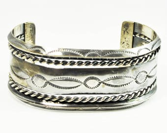 """Sterling Silver Tahe Style Wide Etched Five Part Cuff Bracelet 28mm 5.75"""" Heavy"""