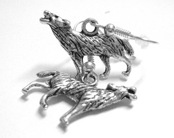 Wolf Jewelry - Silver Wolf Earrings - Clip On Earrings - Sterling Silver Animal Jewelry 219