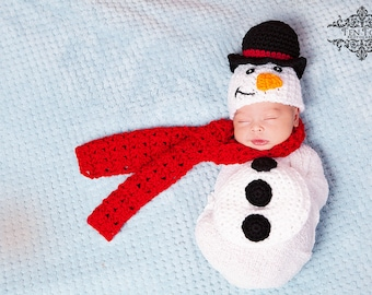 Crochet Snowman Newborn Photography Prop/Christmas Photo Prop/Frosty the Snowman/Baby Scarf/Snowman Critter Cape