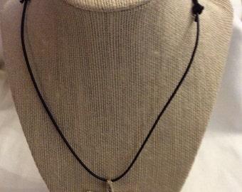 Fine silver starfish pendant  on black leather cord