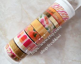 Ms. Sparkle & Co. 9 pk Washi Tapes-Orange Yellow Summer. Ice cream.