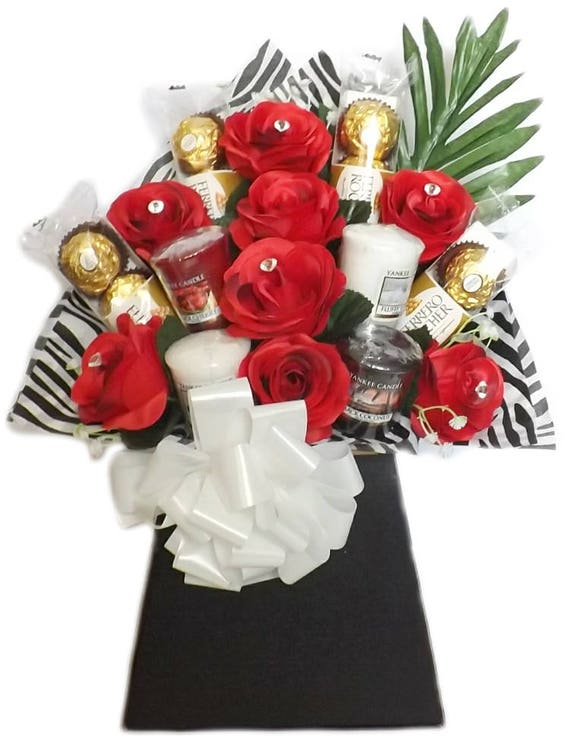Ferrero & Yankee Candle Rose Chocolate Bouquet Sweet Hamper