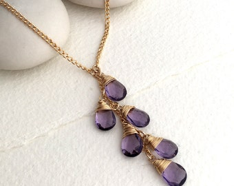 Cape Amethyst Lariat Necklace - Amethyst Jewellery - February Birthstone - Lilac Jewelry