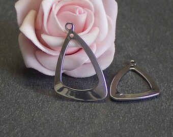X 2 pendants triangle BRA189 20mm stainless steel