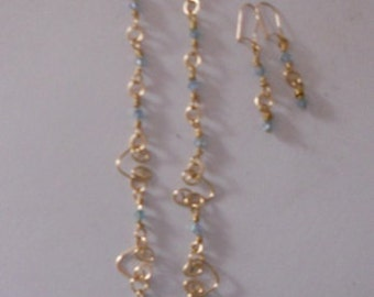 Gold and Aqua Necklace and Earrings