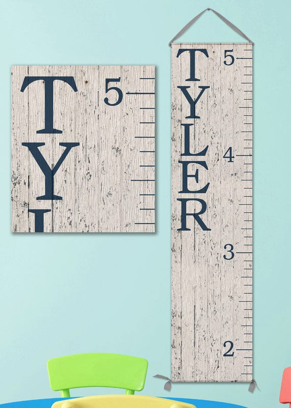 Modern Canvas Growth Chart - Wood Image - Personalized Canvas Growth Chart - Boys Growth Chart - GC0100N_Ang