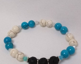 Essential Oil Diffuser Stretch Bracelet of Blue & White Turquoise, Lava Rocks with Crystal and Silver Accent Beads