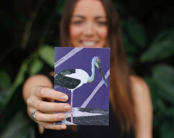 Greeting Card C6 Card & envelope. Birds of the Big Scrub series - Jabiru