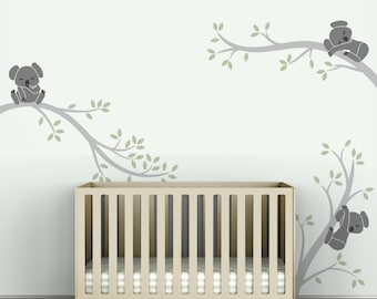 Kids Wall Decal Gray And Light Green Baby Room Decor   Koala Tree Branches  By LittleLion
