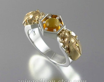 HONEY DROP silver and 14k gold ring with Citrine bee ring