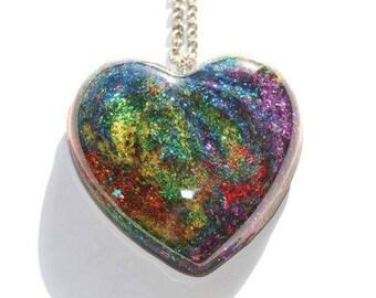 Rainbow Heart Pendant Tie Dye Swirl Jewelry Hippie Necklace Glitter Resin Gift Gay Pride