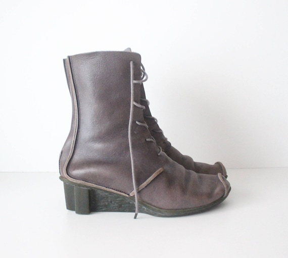 Size US8 100 Boots Made Wedge EU39 Real Made Wedge Ladies Germany Grey Hand In TRIPPEN Leather UK6 Ankle Vintage Rw71q54n