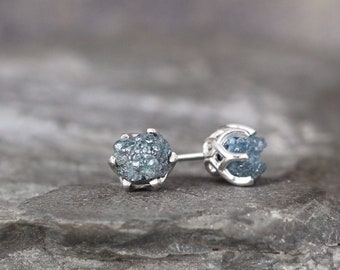 Blue Raw Diamond Earrings - Vintage Style Basket Settings - Sterling Silver Stud - Something Blue - Rough Blue Diamonds - Made in Canada