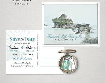 Destination wedding save the date Bali Indonesia Asia bilingual postcard - balinese island wedding - Deposit Payment
