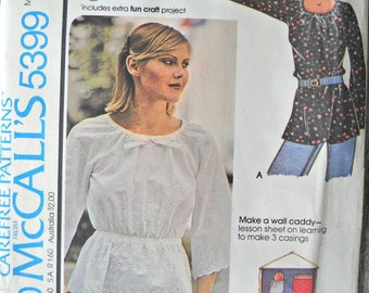 McCall's 5399 Misses Top and Wall Caddy Pattern, Sizes 10, 12, Factory Folded Uncut, Vintage 1976, Sewing Pattern