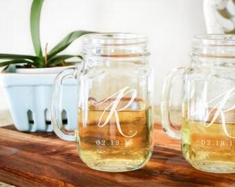 2 Personalized Mason Jar Glasses, Custom Drinking Jar, Monogrammed Mason Jar: Shabby Chic Wedding, Country Wedding