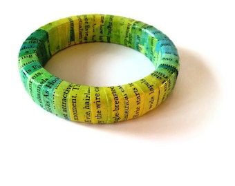 ON SALE Recycled Paper Bracelet - Chuck Palahniuk Invisible Monsters - Green Yellow & Blue- Ecofriendly