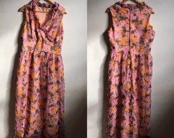 Vintage 1970's Pink Floral Ruffle Maxi Dress Handmade Lined Large Zip Back A-Line