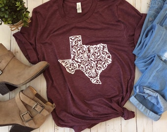 Texas Shirt/Texas Floral Shirt/Texas Design/Womens Texas Shirt/ ladies Texas Shirt/Texas/Texas Tee/Maroon Tee