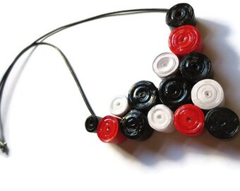 Black, Red and White Necklace- Paper Bead Cluster, Retro