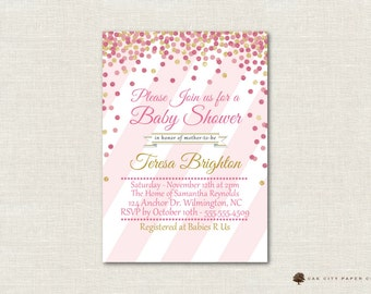 Pink and Gold Baby Shower Invitation, Gold and Pink Baby Shower Invitation, Pink Glitter, Gold Glitter, Pink and Gold Polka Dots, Girl
