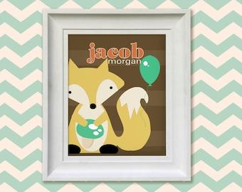 Nursery Art Print - Woodland Fox 8x10 Personalized Baby Room Decor