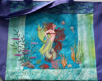 Mermaid Embroidered Beach Tote OOAK