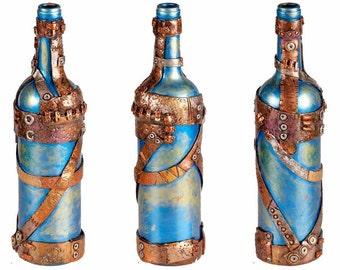 """11"""" Steampunk Oil Lamp Bottle - Green/Blue"""