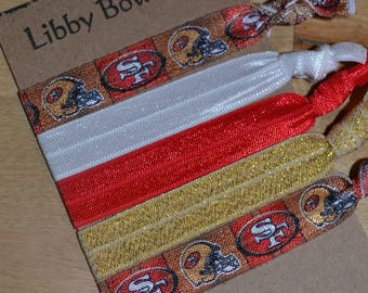 Set of Five San Francisco 49ers FOE Hair Ties No Pull No Crease