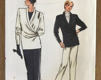 UNCUT Vintage 1980's Jacket, Skirt and Pants Sewing Pattern Vogue 9480 Very Easy Very Vogue Plus Size Size: 8-10-12