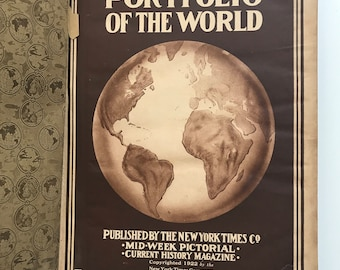Antique 1920s A Pictorial Portfolio of the world book very large illustrated photos red hardcover shabby chic decor collectible