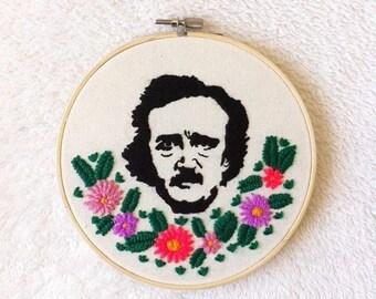 Edgar Allan Poe /Edgar Allan Poe art/Edgar Allan Poe decor/Handmade stitching/MADE TO ORDER