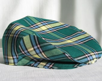 Paddy Cap, Alberta Tartan Newsboy Cap, Green Plaid Cabbie Hat, Green and Yellow Plaid Flat Cap