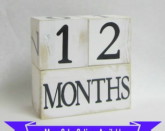 Shabby Chic Baby Age Blocks - Custom Lettering Color