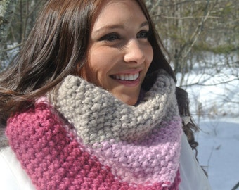 Chunky Pink Hand Knit Cowl, Pink Ombre, Hand Knit Cowl