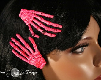 Skeleton hands hair clips with painted massacre pink pair halloween costume barrette -- Sisters of the Moon