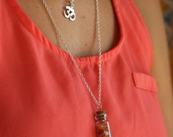 Bottled Crystal Red Agate with Layered Om Charm