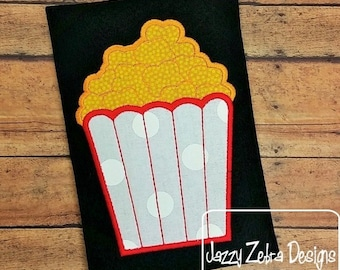 Popcorn Applique embroidery Design - popcorn appliqué design - movie appliqué design - concession stand appliqué design - circus appliqué