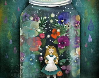 Alice in a jar (Alice in Wonderland) - open edition print - Whimsical Art