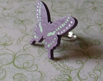 Adjustable ring with Purple Butterfly cabochon