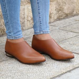 Shanti's Zip Shoes, Pumps Women Shoes, Camel Leather Shoes, Flat Shoes, Also