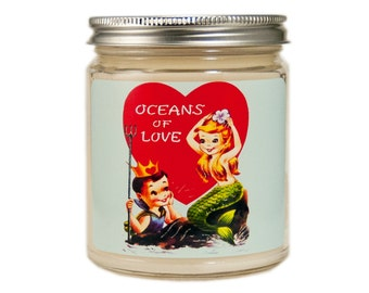 Valentines Day Gift, Valentine Candle, Custom Scented Candle, Container Candle, Soy Candle, Vintage Valentine Day, Mermaid Candle