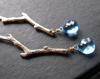 Heavans Water. Gold twig branch and Blue topaz grade AAA teardrop microfaceted cheker faceted earrings Only One OOAK