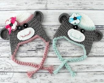 Sock monkey hat, Crochet hat, Earflap hat, Newborn-Adult, Character hat, Girls hat, Boy hat, Crochet beanie, Photo props, Made to order