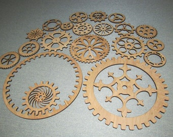 Gears Lot 3, 20 Various Sizes & Styles of Wood Wooden Steampunk Wall Art Decor